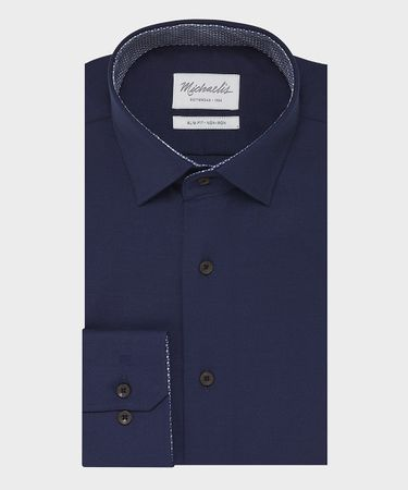 Navy effen oxford overhemd